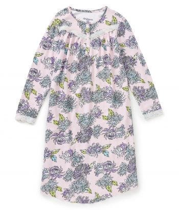 Nightgown O/B Long Sleeve Flannel in Chrysanthemums
