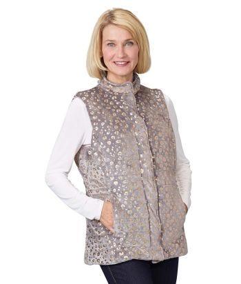 Women's Reversible Magnetic Snap Front Puffer Vest