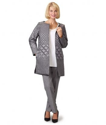 Women's Self Dressing Reversible Quilted Jacket with Detachable Sleeves
