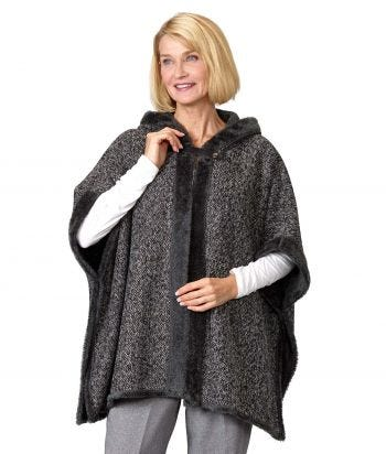 Women's Reversible Faux Fur Poncho with Magnetic Snap