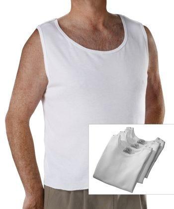 3 Pack - Adaptive Cotton Sleeveless Undershirt White