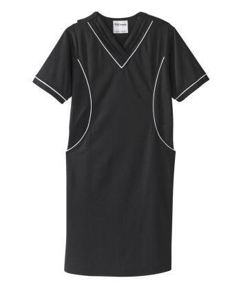 Senior Women's Adaptive Open Back Ponte Dress Black/White