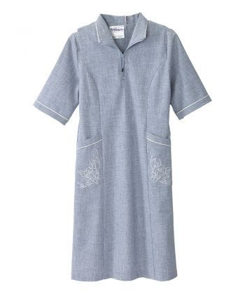 Senior Women's Adaptive Open Back Embroidered Linen Dress Breezy Blue