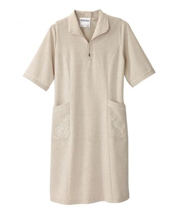 Senior Women's Adaptive Open Back Embroidered Linen Dress