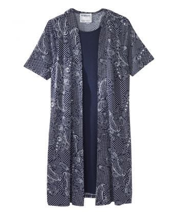Senior Women's Adaptive Open Back Two-fer Dress Abstract/Indigo
