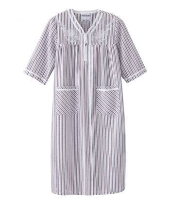 Senior Womens Adaptive Open Back with Zip Front Nightgown