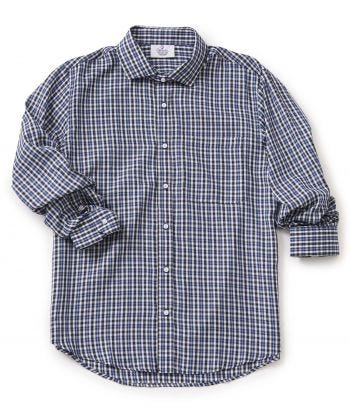 Magnetic Buttons Dress Shirt for Men Navy/Black Check