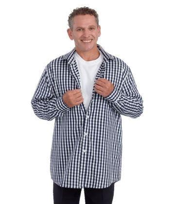 Men's Self Dressing Magnetic Buttons Plaid Dress Shirt - Clearance