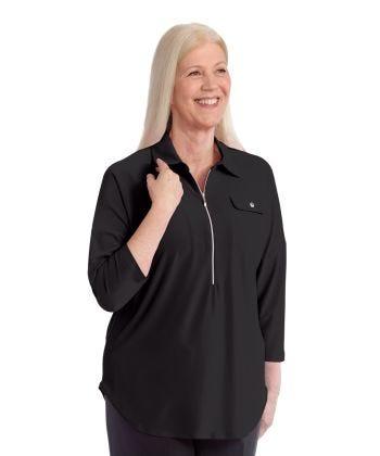 Easy Wear Zipper Front in Black