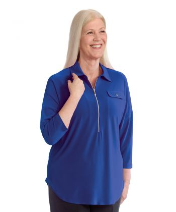 Women's Zip-Front Top for Self-Dressing
