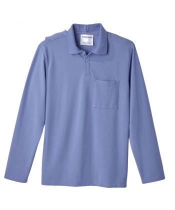 Men's Adaptive Open Back Polo Shirt with Long Sleeves