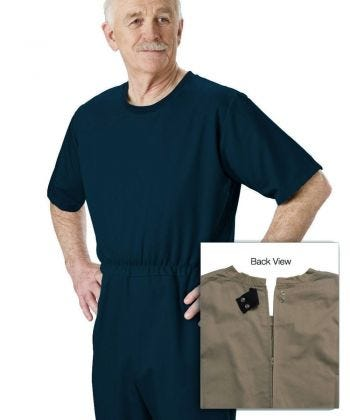 Men's Stay Dressed Jumpsuit for Dementia Needs Full Back Zip Outfit - Clearance
