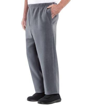 Mens Easy Access Clothing Polar Fleece Pants - Best Arthritis Pants Gray