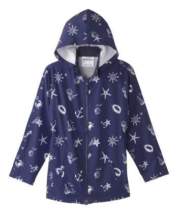 Women's Post Surgery Recovery Jacket Magnetic Zip With Detachable Hood  Nautical
