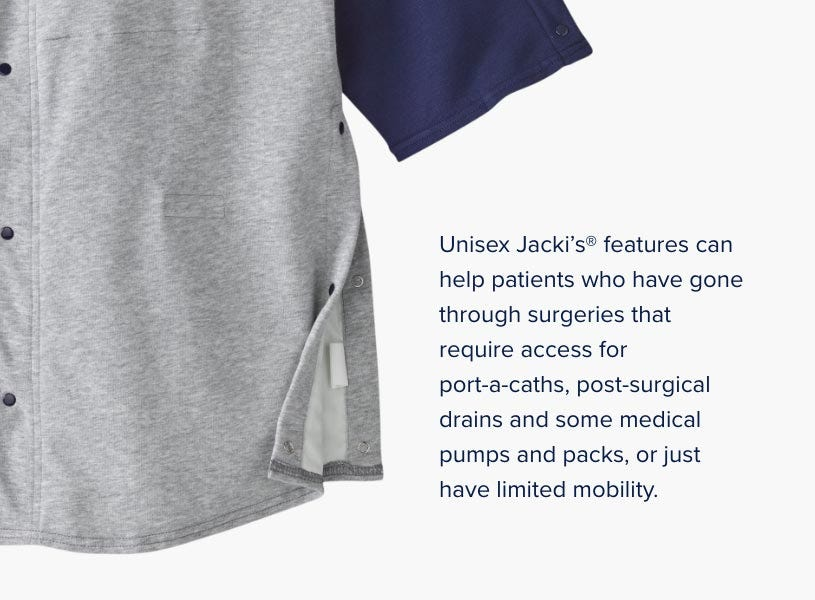 Unisex Jacki®'s features can help cancer patients that have gone through mastectomy or any breast surgical procedure including breast reconstruction and breast enhancement or reduction