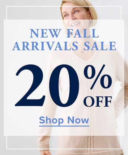 New Fall Arrivals Sale - 20% Off